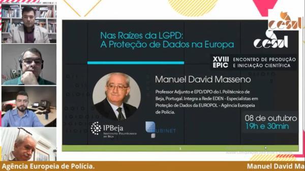 Na segunda, à noite, dia 8, o professor Manuel David Masseno fez sua palestra ao vivo de Portugal.