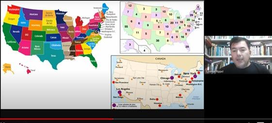 Momento em que o professor Leomar Rippel explica sobre o sistema eleitoral nos Estados Unidos da América.